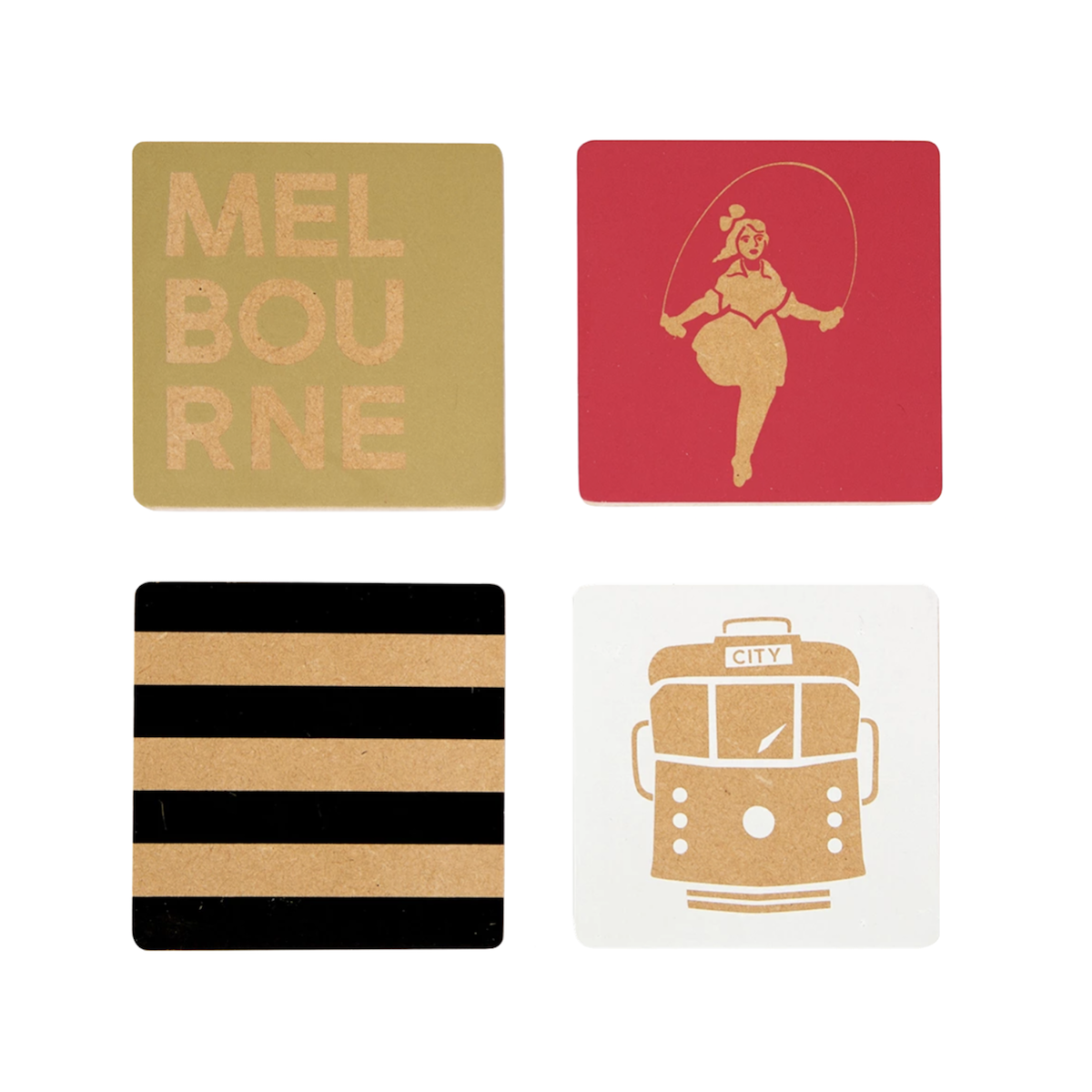 Melbourne Wood Coaster Set