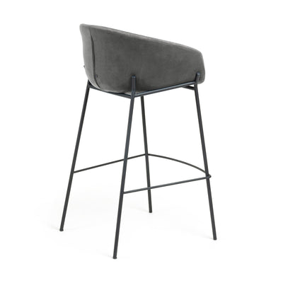 Modine Bench Barstool | Pewter Grey Velvet