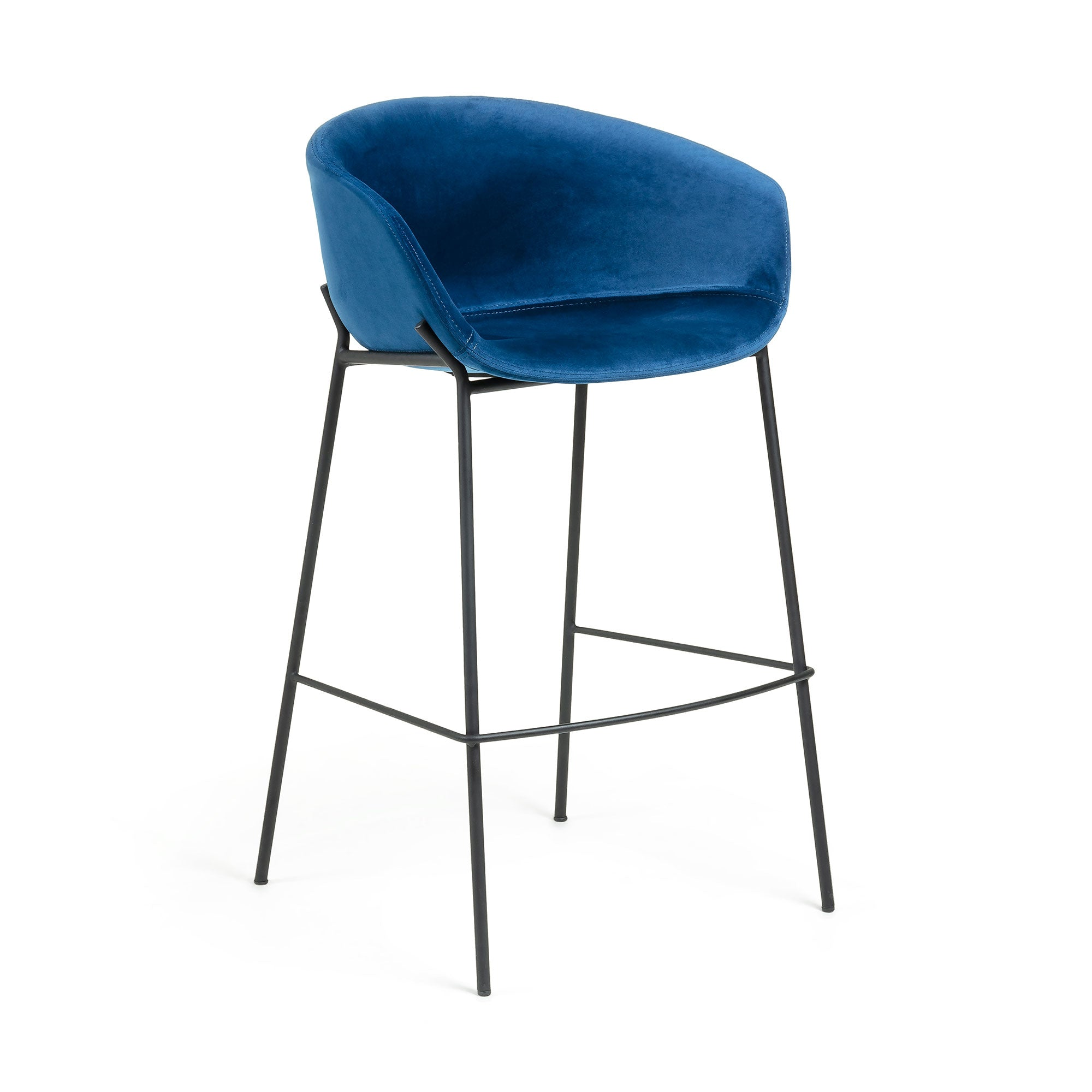 Modine Bench Barstool | Royal Blue Velvet
