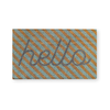 Hello Stripe Mint Doormat