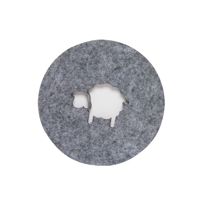 Sheep Grey Felt Coaster Set