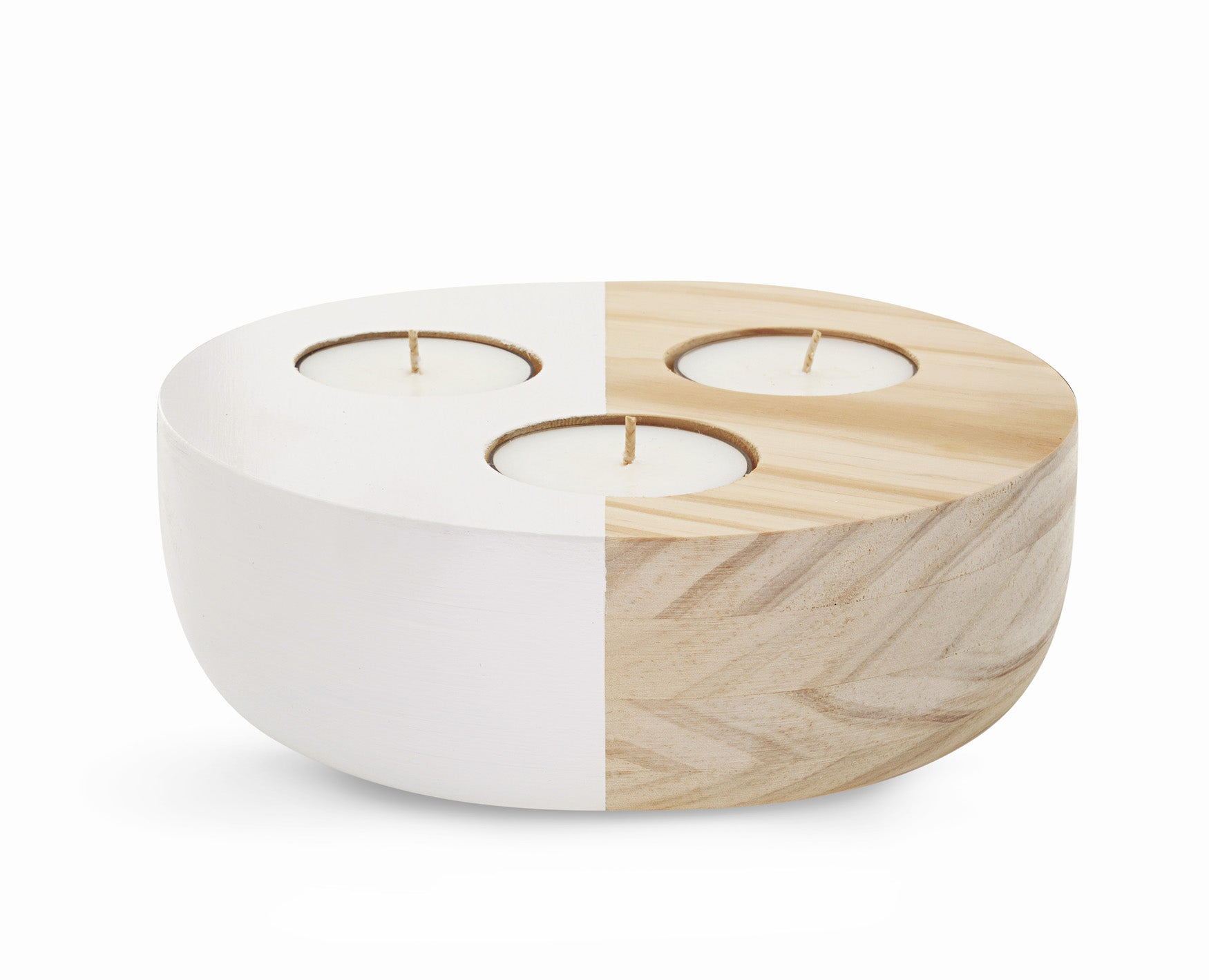 Wooden Maxi Tea Light Holder LG | Ivory