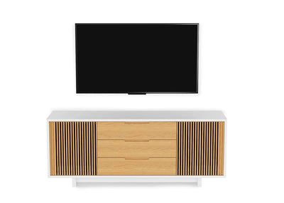 Vertica 8558 Tall Entertainment Cabinet | White Oak