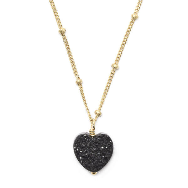 All My Heart Black Druzy Pendant