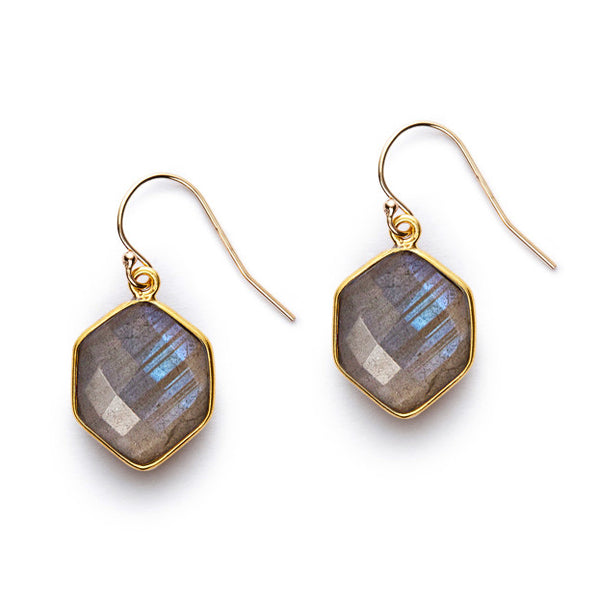 Labradorite Edge Earrings