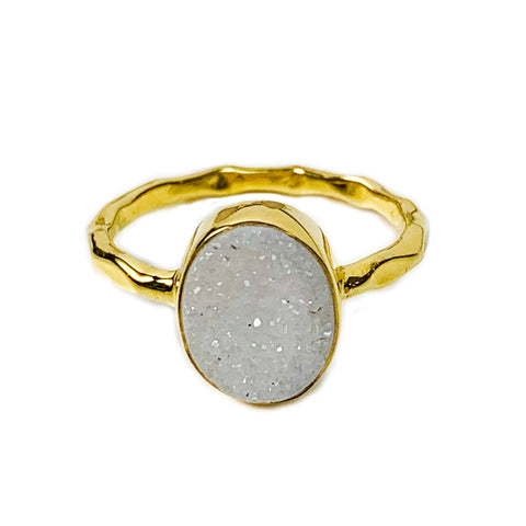 White Oval Agate Druzy Ring