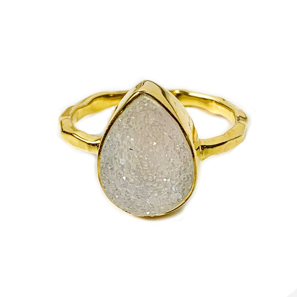 Natural White Pear Druzy Ring