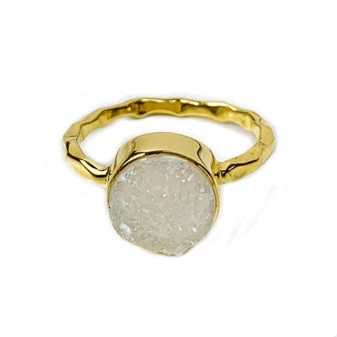 Natural White Round Druzy Ring