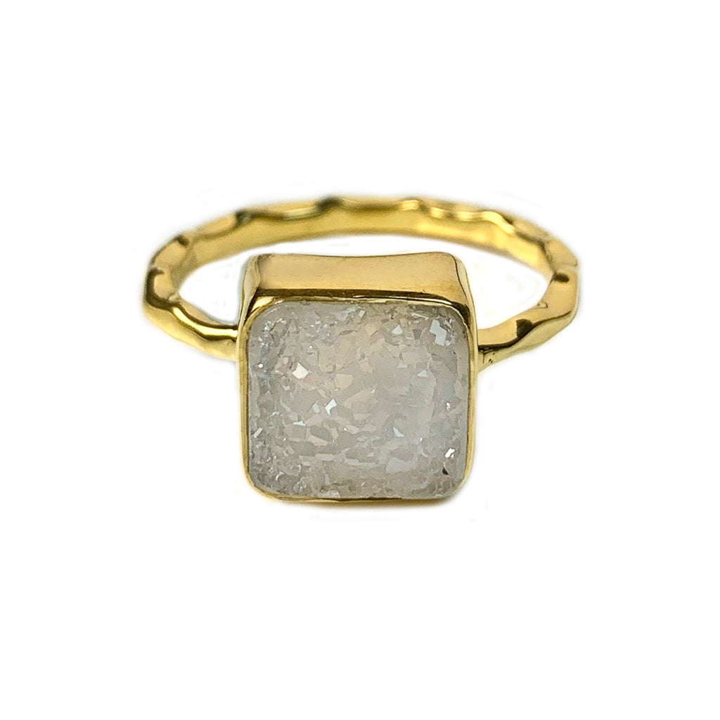 Natural White Square Druzy Ring