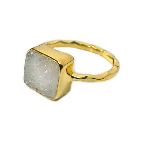 White Square Agate Druzy Ring
