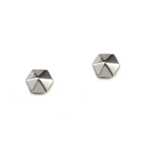 Silver Hex Pyramid Studs