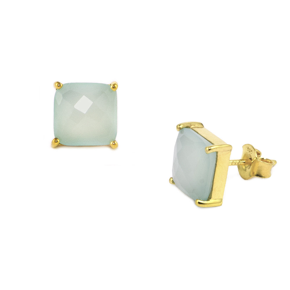 Green Chalcedony Cushion Cut Studs