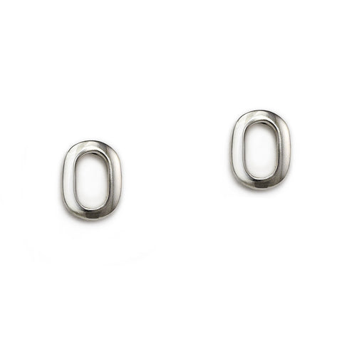 Silver Oval Link Studs