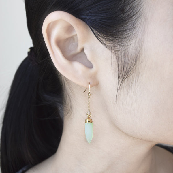 Green Chalcedony On Pointe Earrings