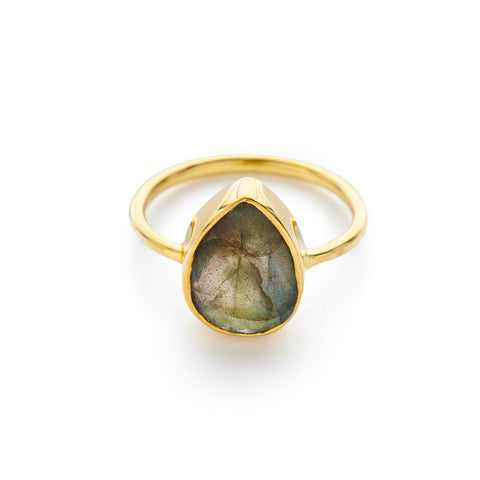 Labradorite Pear Ring