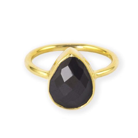 Black Garnet Pear Ring