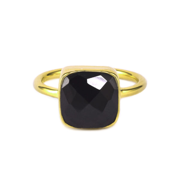 Black Garnet Cushion Ring