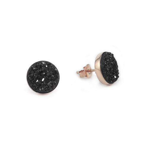 Rose Gold and Black Sparkle Studs