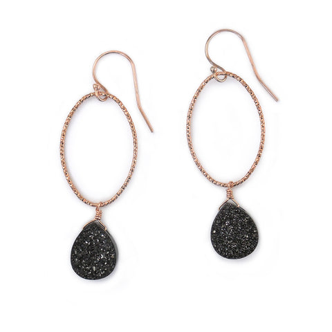 Black and Rose Gold Oval Glitter Hoops