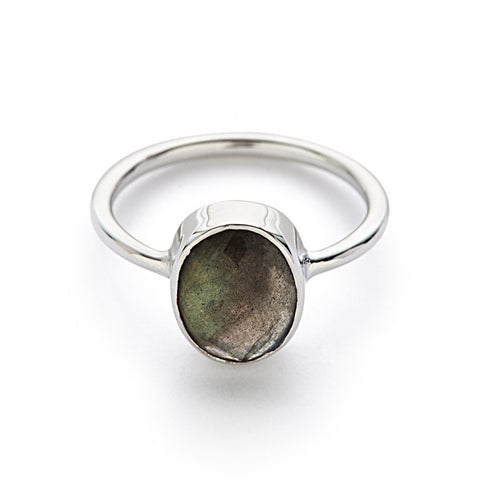 Silver with Labradorite Oval Ring