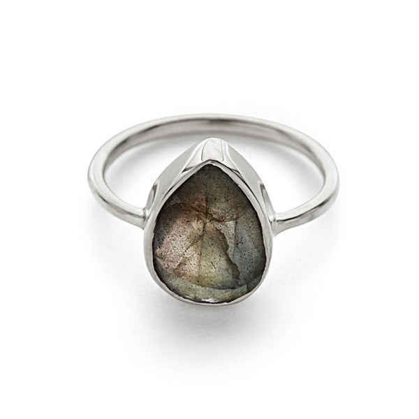 Silver with Labradorite Pear Ring