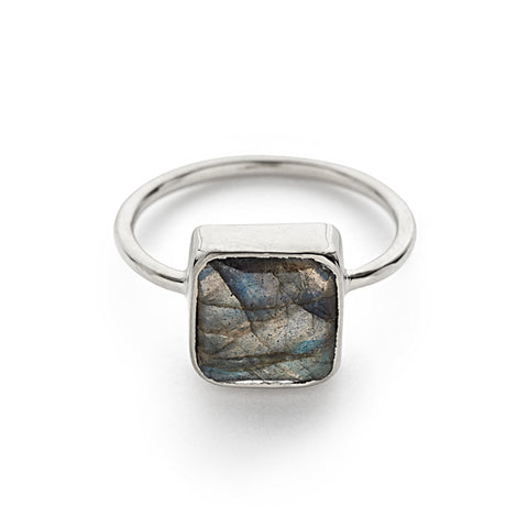 Silver with Labradorite Cushion Ring