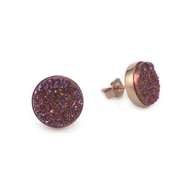 Rose Gold Plum Sparkle Studs