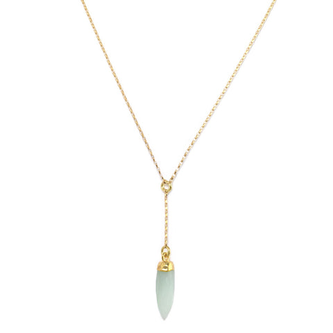 Green Chalcedony On Pointe Necklace