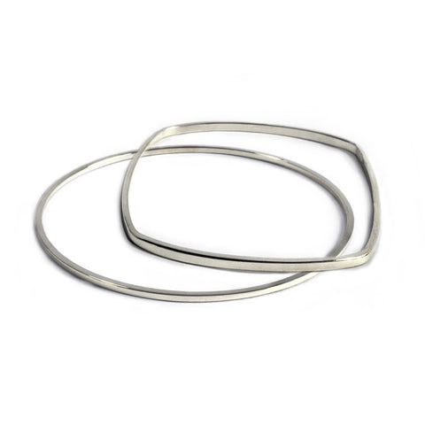 Pair of Round + Square Geometric Bangles