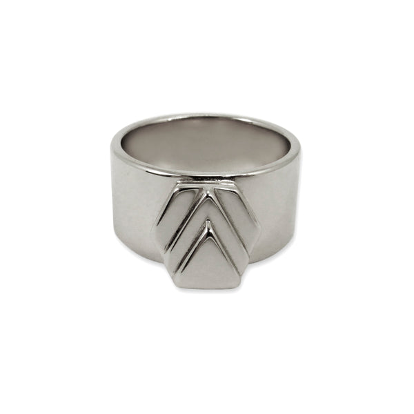 Silver Chevron Ring