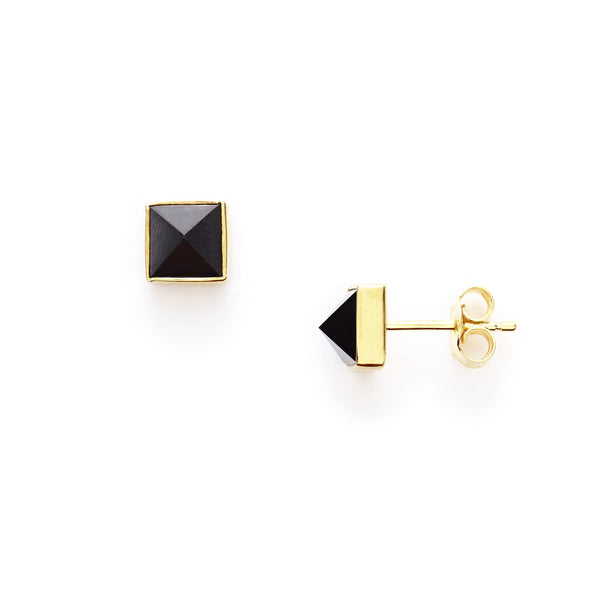 Black Spinel Pyramid Studs