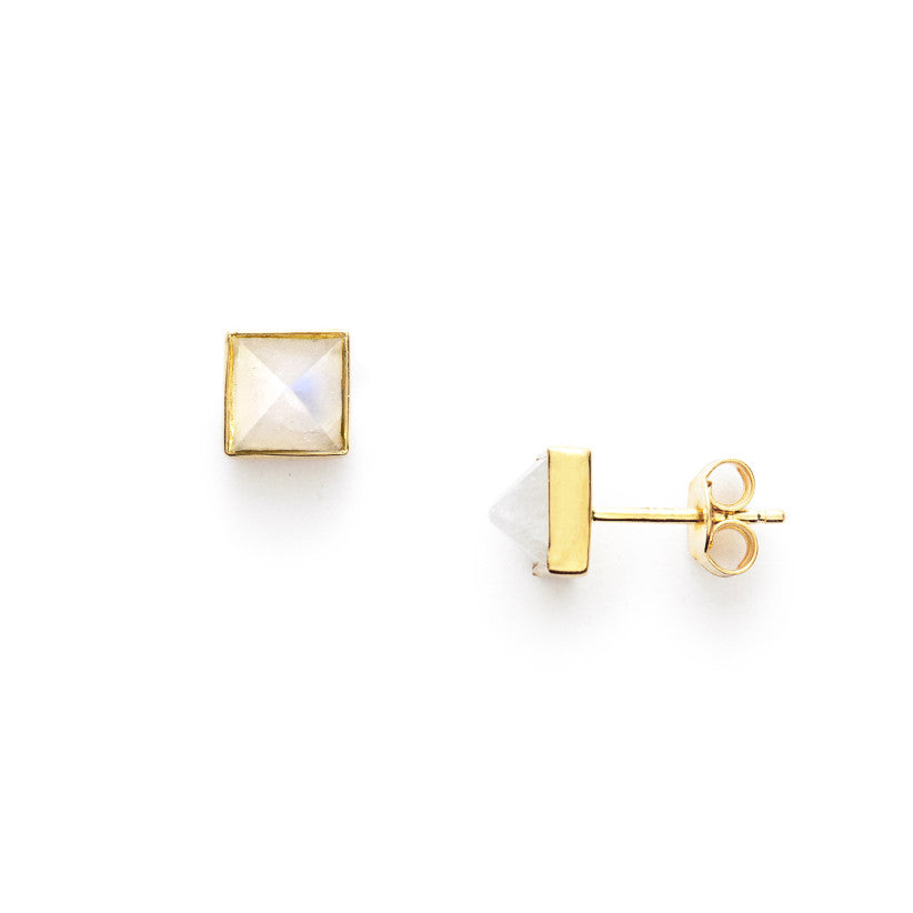 Rainbow Moonstone Pyramid Studs