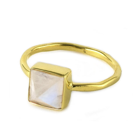 Rainbow Moonstone Pyramid Ring