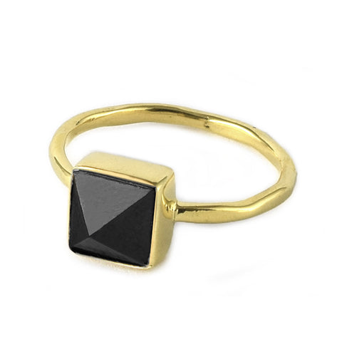 Black Spinel Pyramid Ring