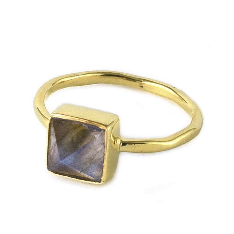 Labradorite Pyramid Ring