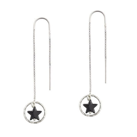 Silver with Hematite Shooting Star Earrings