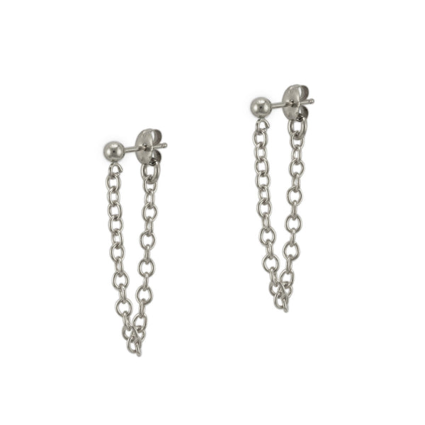 Silver Ball and Chain Studs