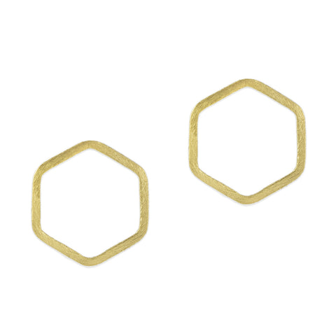 Gold Hexagon Line Earrings