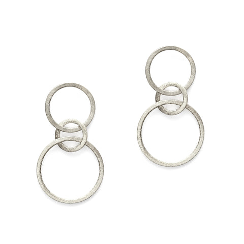 Silver Triple Link Earrings