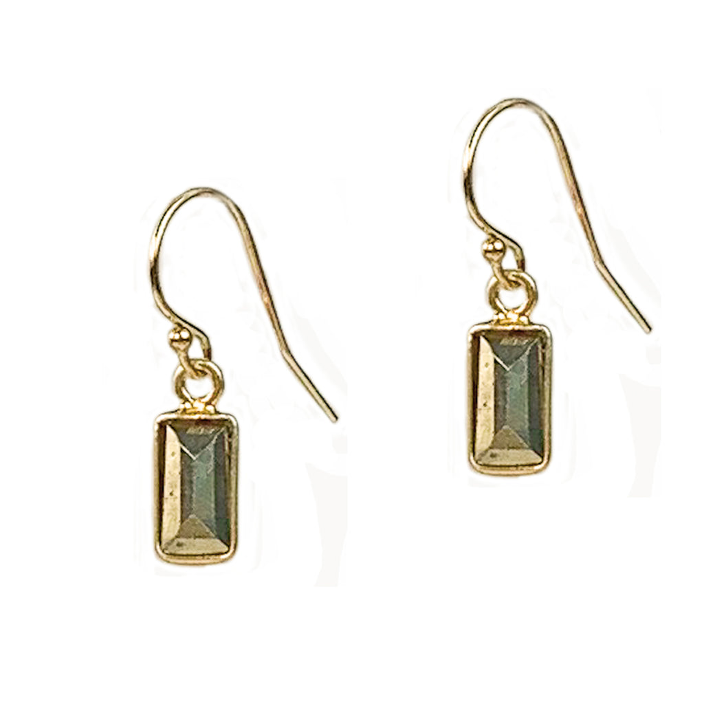 Gold and Pyrite Baguette Earrings