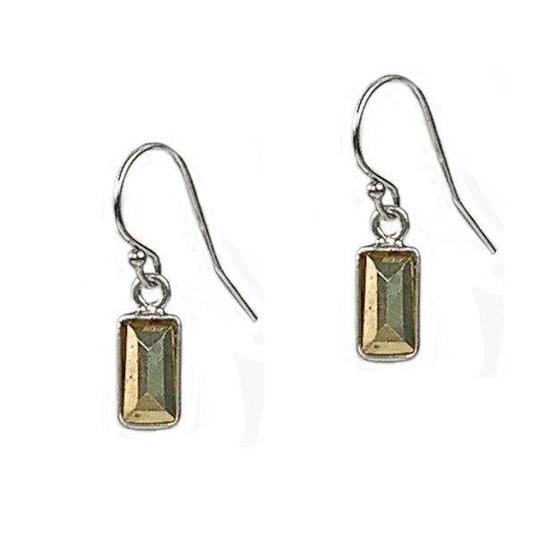 SIlver and Pyrite Baguette Earrings