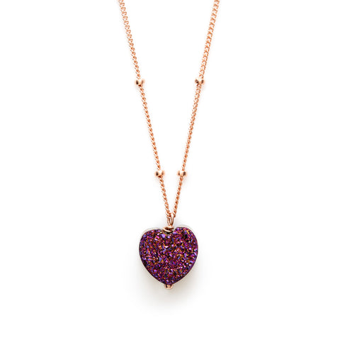 All My Heart Plum Druzy Pendant