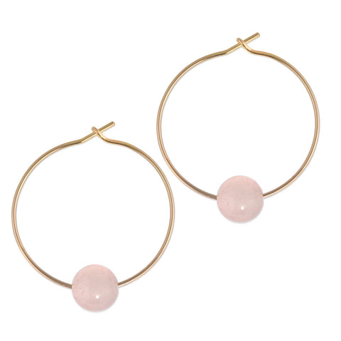 Rose Quartz Orbit Hoop
