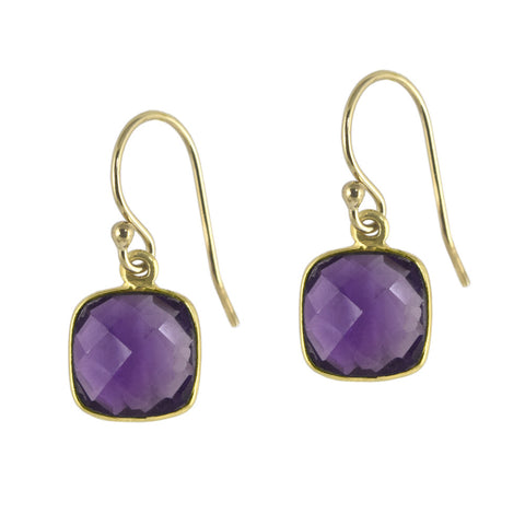 Amethyst Cushion Cut Drops