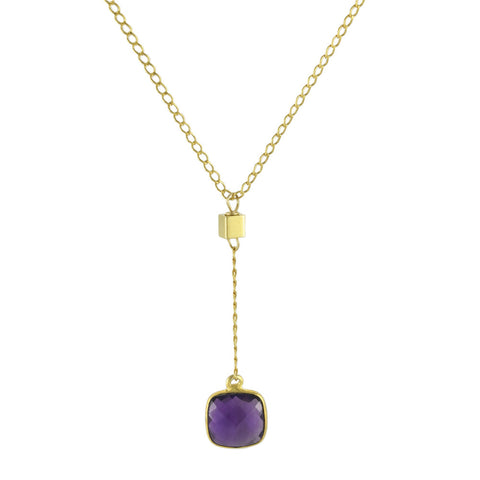Amethyst Cushion Cut Y Necklace