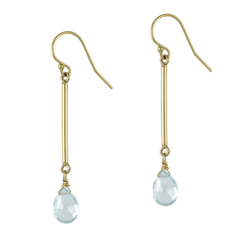 Blue Topaz Bar Earrings
