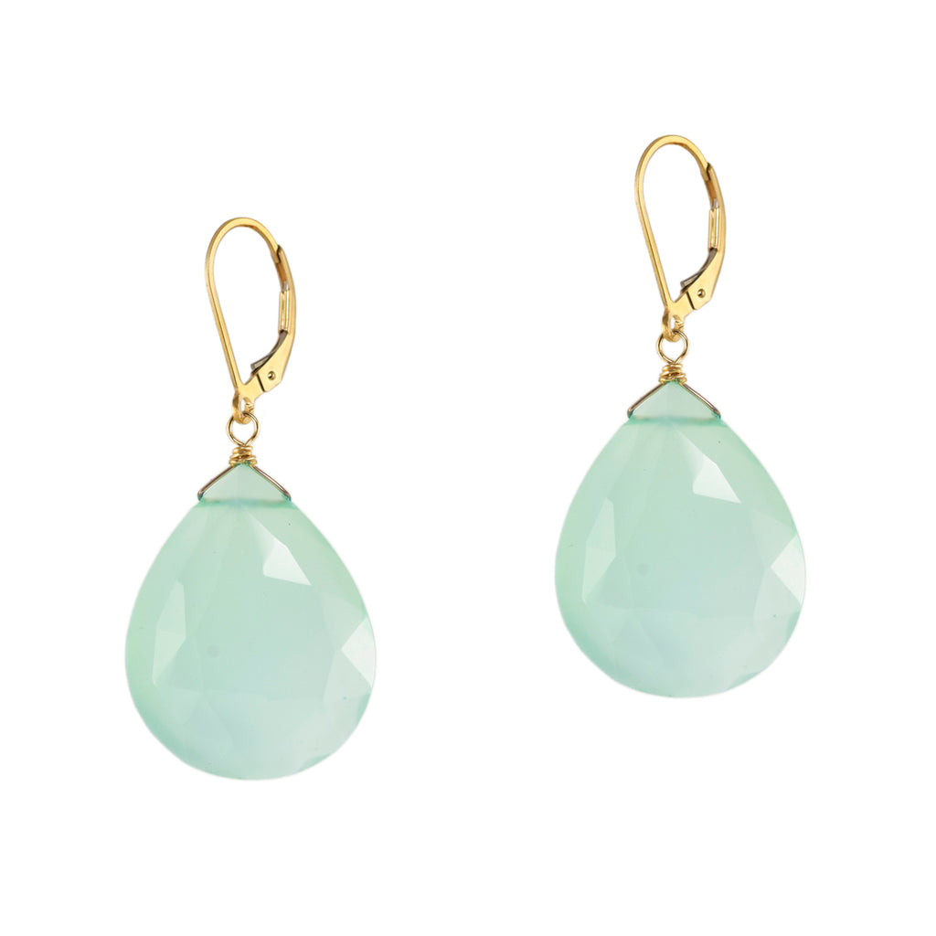 Green Chalcedony Rose Cut Earrings