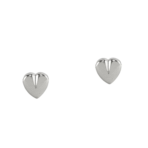 Silver Cleft Heart Studs