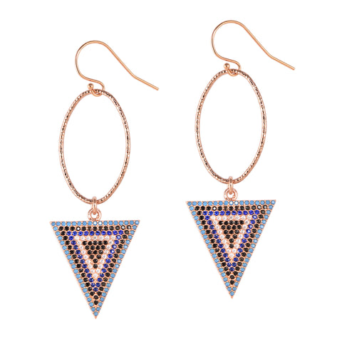 Pavé Crystal Triangle Earrings