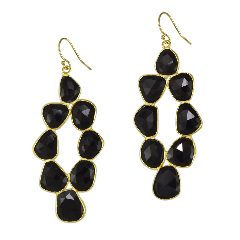 Black Onyx Pebbled Diamond Earrings